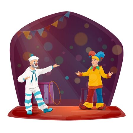 Clown characters, big top circus. Funny carnival jokers with jester and sailor costumes, hats, makeups and fake nose performing comedy show on stage with flags, sparkles and pedestals Illustration