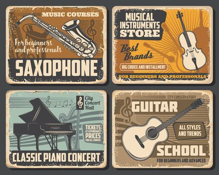 Saxophone and guitar, classic piano and violin musical instruments, retro vector. Music notes silhouette, tickets on concert. Music school courses and musical instruments store