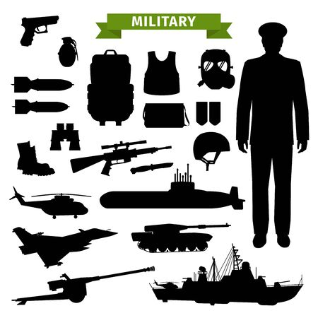 Military ammunition, transport, gun and officer isolated black silhouettes. Vector gun and rifle, armour and backpack, submarine and warship, airplane and helicopter, tank and drone, helmet and boots