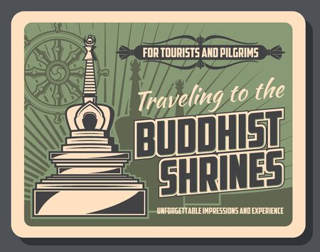 Vector vintage card with stupa temple, buddhism Dharma wheel and worship tips. Buddhist shrines tourist pilgrimage travel tours. Vector Buddhism enlightenment, asian religion and culture symbols