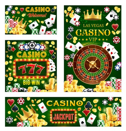 Casino, gambling and poker games. Vector fortune wheel, lucky sevens combination, royal crown, gamble dices and chips. Blackjack playing cards, golden coins and stakes, game of chance