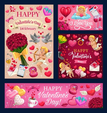 Happy Valentines day and I love you greeting wish in with heart balloons and pink roses. Vector Valentine cupid angel with golden harp and arrows, kiss lips and heart on wings with love message