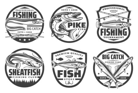Fishing sport, fisherman hobby isolated monochrome logos. Vector fishery tackles, crossed rods, pike, trout and sheatfish, big catch. Fishing camp, flounder and pike on hook, bait or lure, river lake