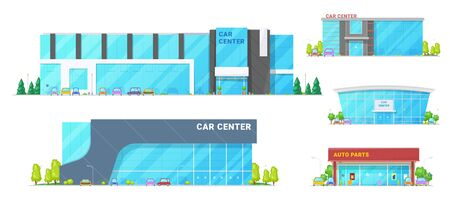 Car trade centers and showroom buildings. Vector vehicle showrooms, car dealer centers and spare parts store. Exteriors design with trees and parking zone Ilustração