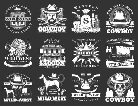 Wild west isolated icons. Vector cowboy american legend, western saloon, sheriff department, crossed revolvers, pistol gun. Wagon cart, native indian, horse and skull in hat, drinks and treasures Ilustração