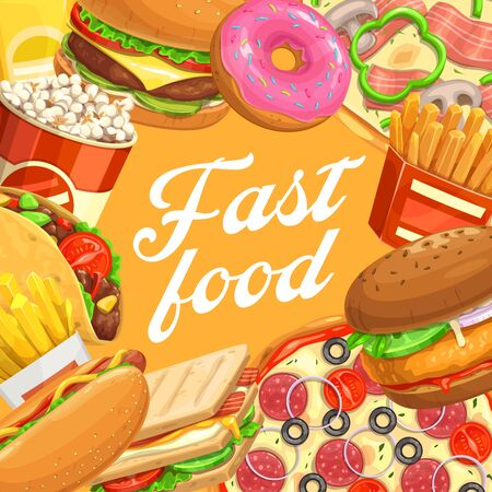 Fast food burgers and desserts, vector hamburger, pizza and hot dog, french fries, egg sandwich and donut, mexican tacos and popcorn. Takeaway junk meal, cafe and restaurant menu cover Ilustração