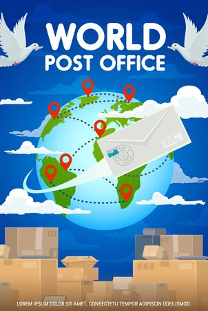 World post office, worldwide delivery to any destination point at map. Vector packages and parcel, boxes and globe with marks. Dove birds in sky, envelope letter, mailing logistics services, postage 일러스트