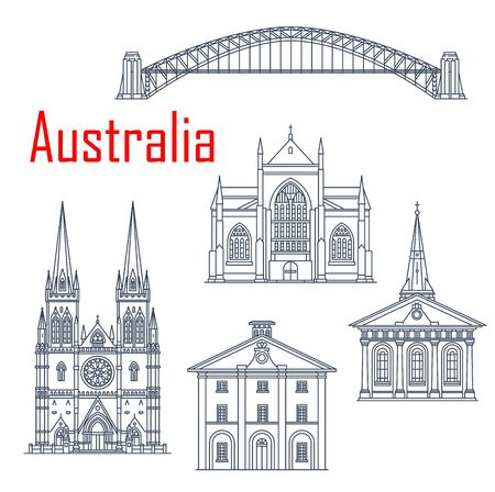Australian Harbour bridge, St Mary and Saint James Church, St. Andrews cathedral, Hyde park barracks. Sydney sightseeing, museums and churches. Isolated outline buildings
