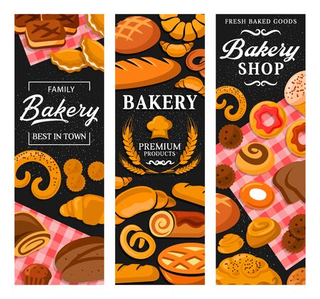 Baker shop, tasty pastry, patisserie, dessers and sweets. Vector banners of confectionery, croissants and cupcakes, pretzels and pies, baked biscuits and rolls, toque chef hat, wheat ears Çizim