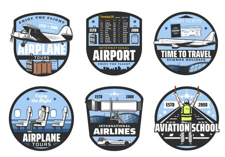 Vector flight tickets, travel, airlines and aviation school icons. Boarding pass and waiting hall, terminal, list of departures and arrivals. Airplane tours, international airport isolated symbols
