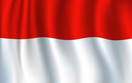 Flag of Indonesia, two equal horizontal bands of red and white. Vector waving banner, national flag. Independence day, european country patriotic symbol. Sang Saka Merah-Putih