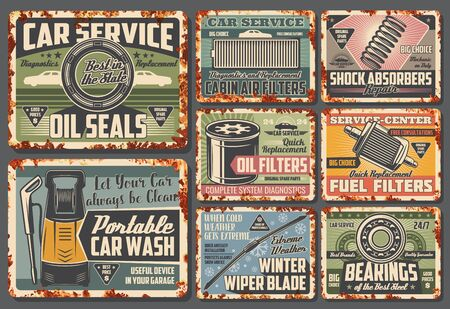 Car service and spare parts metal signs. Vector rusty card of oil seals, cabin air filters, shock absorbers and fuel filters, portable car wash and winter wiper blade, steel bearings