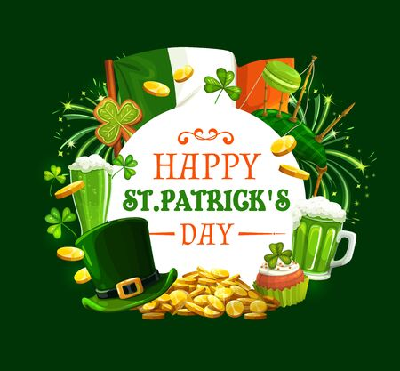 Patricks day round frame with Irish holiday symbols. Vector Ireland flag, gold coins, green fireworks and shamrock clover, bagpipe and macaroons, cupcake and ale beer, leprechauns hat and cookies  イラスト・ベクター素材