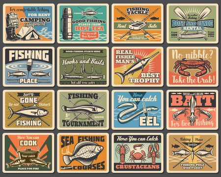 Fishing sport, camping and tourism retro metal signs. Vector fishery equipment, fish and camp tent, flounder and cooking cauldron. Boat crossed paddles, eel and salmon, hooks and baits, rods  イラスト・ベクター素材