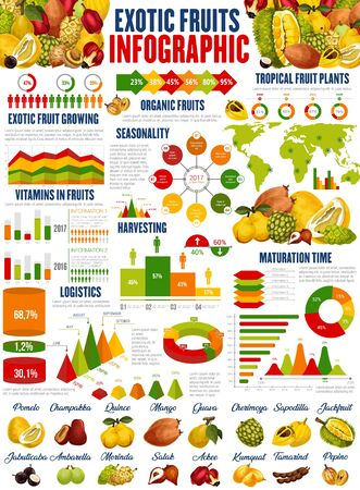 Exotic fruits vector infographics. Growing, harvesting and vitamins consumption. Fruit nutrition facts, graphs and charts, diagrams. Pomelo, jackfruit and chambakka, quince and mango, guava, kumquat