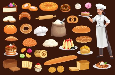 Baker with bread, pastry food. Cartoon vector baguette, croissant, wheat and rye loaves, cake, donut and bagel, cupcake, cookie and toast, sweet bun, pancake and pie, gingerbread, flour and baker hat