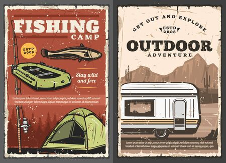 Fishing camp and outdoor camping in pickup, retro vector poster. Fishery sport, inflatable boat with paddles, travel tent, van, fish and fishing equipment. Vehicle in desert mountains, cactuses, trees