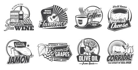 Spanish cuisine, travel vector icons. Vector spanish wine, bottle, barrel and grape, cheese and jamon snacks, coffee and olive oils. Flamenco fan and guitar, corrida bull. Monochrome icons
