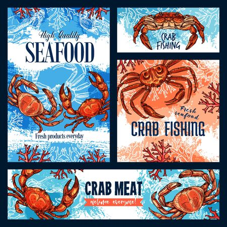 Seafood, crab fishing and meat of crustacean animal. Vector sketch posters of underwater crab with claws, sea bottom with corals and seaweeds  イラスト・ベクター素材