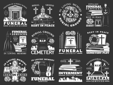 Funeral, burial and interment service, isolated monochrome icons. Vector burial ground ceremony, rest in peace, cemetery, remation urns and columbarium, crosses and tombs, graveyard and burial icon