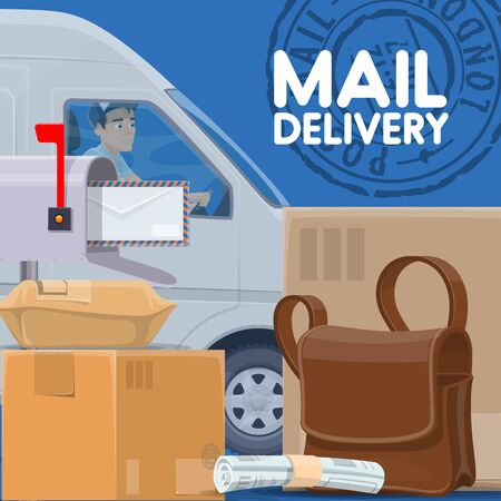 Mail delivery, parcels and postman in car. Vector post office, delivering service, courier driving vehicle. Packed boxes and postal worker bag, newspaper and parcels, postage logistic and stamp sign Ilustracja