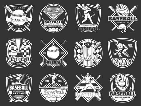 Baseball sport. Vector isolated icons of bat and ball game, quarterback player and trophy cup, field and stadium, glove, sportsman uniform and playing equipment Vetores