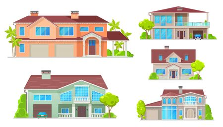 Cottage, country house, villa, mansion and bungalow vector buildings. Real estate objects. Facade exteriors, windows, entrance door, garage and parking zone, trees