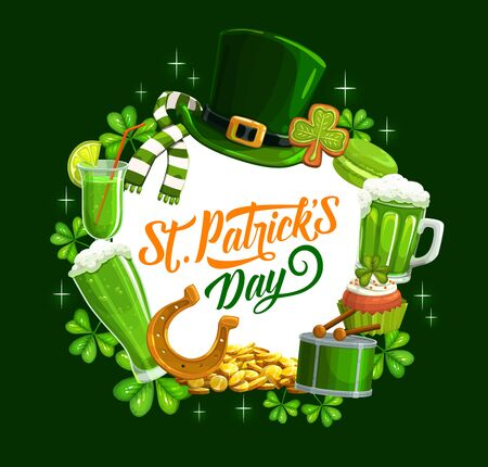 Patricks day banner with holiday symbols. Vector leprechaun hat and scarf, gingerbread cookies and mug of beer. Music drum and horseshoe, gold treasures, cocktails and cakes with shamrock leaves Banque d'images - 138470424