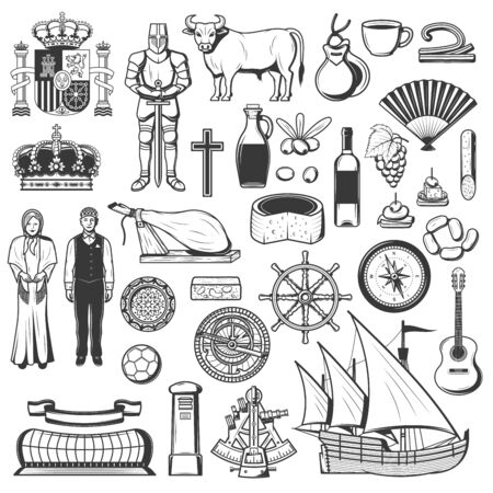 Symbols of Spain food, heraldry, culture, sport and religion, history and traditions. Vector Spanish people in national cloth, wine and corrida bullfighting, jamon and food, sextant, ship and compass