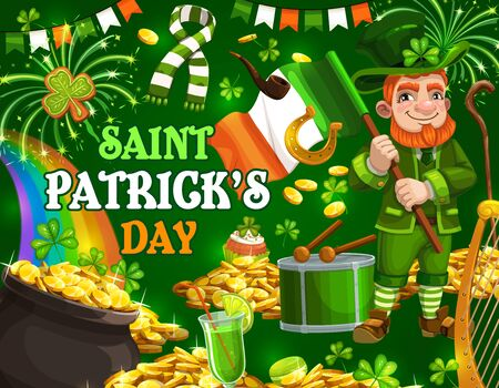 Patricks day, Irish holiday party. Vector leprechaun with Ireland flag and rainbow in cauldron with gold money, Patricks day fireworks, shamrock clover and green beer, scarf and cupcake