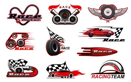 Car motor race and motorsport icons. Vector racing symbols, badges with checkered flag, winged wheel, sport vehicles, speedometer and tyre, turbine and wreath, wings. Racing sport, speed icons Stockfoto - 141023010