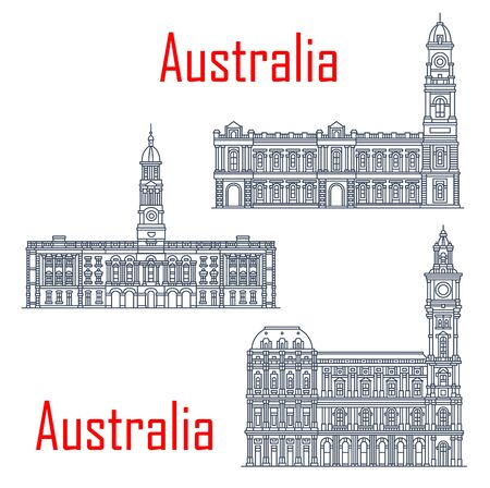 General post office of Melbourne, Adelaide Town hall buildings. Vector architecture of Australia, Adelaide post landmark. Victorian heritage register, town halls Ilustrace