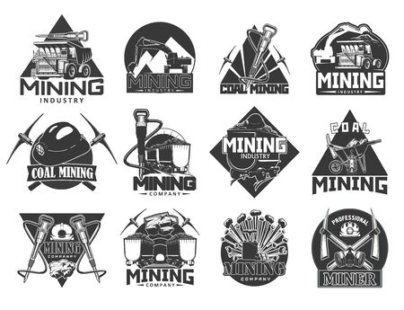 Coal mining industry, isolated vector monochrome icons. Miners equipment, coal extraction, work tools, wheelbarrow and crossed picks, carriage trolley with coal, helmet with light
