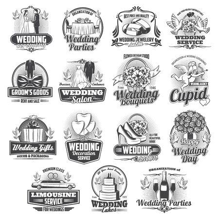 Hochzeitszeremonie-Service isolierte Symbole, Vektor. Arrangement von Hochzeit, Bräutigam und Brautparty, Hochzeitsblumensträuße und Brautkleid, Juweliergeschäft, Dekoration, Kuchen und Limousinenmiete
