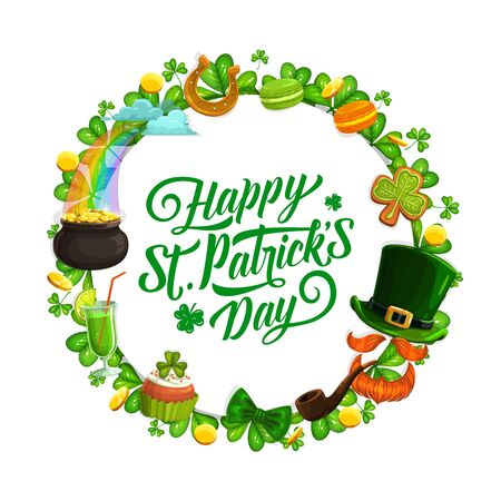Patricks Day leprechaun hat, gold and shamrock vector greeting card. Green clover leaves, pot of golden coins and horseshoe, cake, elf orange beard, smoking pipe and rainbow with treasure cauldron