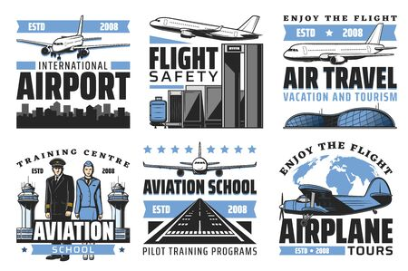 Airport and aviation school vector icons, international airlines and air travel. Vector airplane, pilot and stewardess and worldwide tours. Baggage handlers, control tower and terminal, runway
