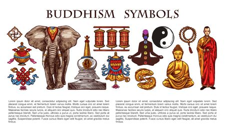 Buddhism religion and culture symbols, characters. Vector Buddha and lotus flower, yoga meditation pose and monk, pebble pile and prayer wheel, yin yang and dharmawheel, elephant and stupa Archivio Fotografico - 140545469