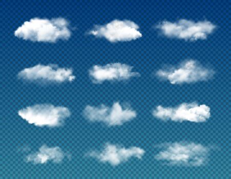 White clouds on transparent background, vector cloudy sky, foggy air, thunder cloudscape and fluffy cumulus clouds. Nature, weather, atmosphere and heaven Ilustracja