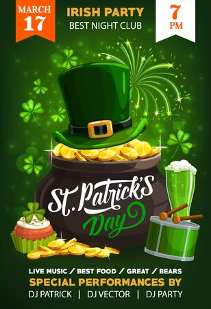 Patrick Day shamrock clover leaf, leprechaun hat and pot of gold. Vector invitation of party, Ireland traditional holiday. Mug of ale beer and cupcake, drum and drums tick, fireworks