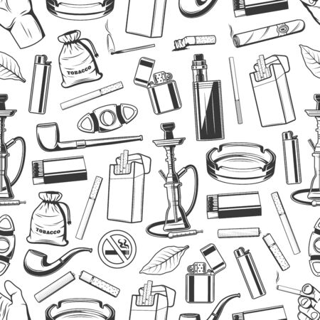 Tobacco and smoking accessories seamless pattern background. Vector cigarettes, smoking pipes and cigars, tobacco leaves and bags, hookah, vape boxes and cigarette packs, lighters, matches, ashtrays