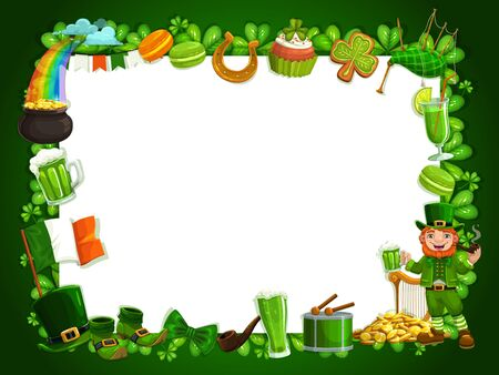 Patricks day shamrock frame, traditional Irish holiday feast. Vector empty frame with Ireland Patrick Day symbols, shamrock clover leaf, green ale pint, leprechaun gold coins and rainbow