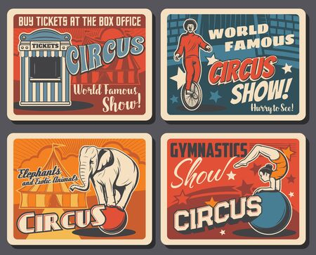 Circus and funfair carnival show, vector vintage posters. Shapito big top circus tent and ticket office booth, clown on unicycle, equilibrist girl and elephant balancing on ball 일러스트