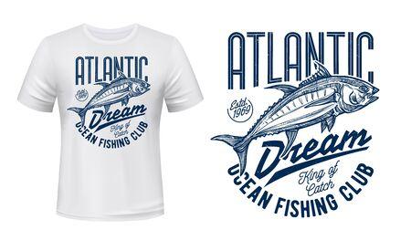 Croquis de thon de sport de pêche et conception de vecteur d'impression de t-shirt de club de pêcheur. Insigne grunge animal de l'océan Atlantique avec lettrage, loisirs en plein air et thèmes de compétition sportive de pêche