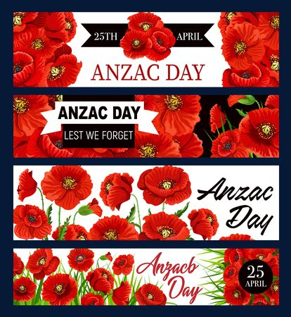 Anzac Day poppy flowers vector banners and black ribbon, national remembrance day of Australia and New Zealand. 25 April Anzac day poppy memorial symbol of army soldiers and war veterans