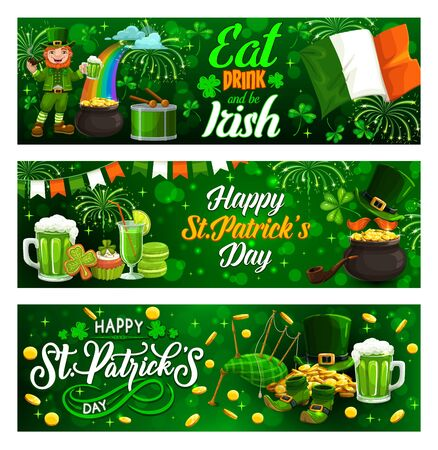 Eat, drink and be Irish, celebration Patricks day. Vector greetings and Irish holiday green symbols. Leprechaun on rainbow smoking pipe and drink beer, shamrock clover, golden coins and bagpipe