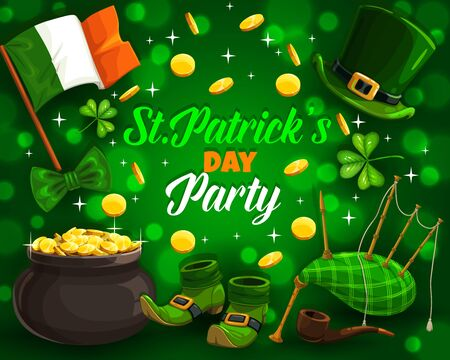 Patricks day party and holiday attributes on green. Vector flag of Ireland, leprechauns hat and shoes, bagpipe and smoking pipe. Rain of golden coins and shamrock leaves, pot with treasures Illusztráció