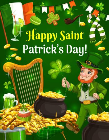 Leprechaun with shamrock clover and gold coins, Happy Saint Patricks day. Irish holiday, Ireland flag with bagpipes, drum and green ale beer mug, scarf and golden harp Illusztráció