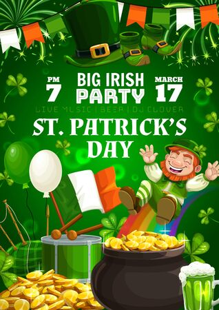 Happy Patricks day, Irish holiday party celebration. Vector leprechaun on rainbow, shamrock clover and fireworks, St Patrick day Ireland flag and Irish bagpipes, beer pint and gold coins