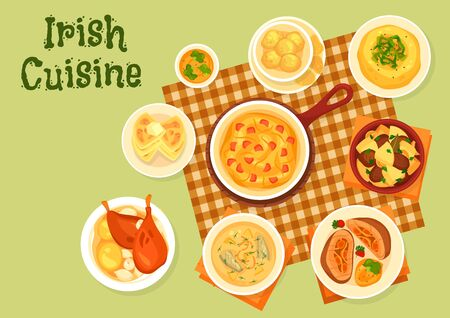 Irish cuisine dishes, vector. Fish, meat and vegetables. Potato pancake farls and cookies, fish soup, beef roll and cabbage ham casserole, lamb stew and baked rabbit