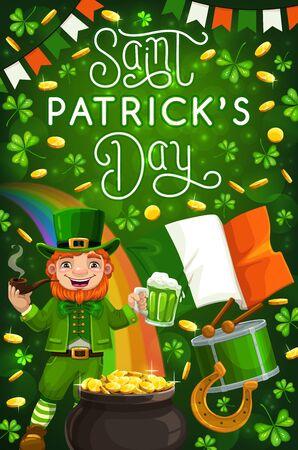 Saint Patricks day Irish holiday green symbols. Vector cartoon leprechaun and rainbow, treasure pot of gold, lucky horseshoe and drum. Clover shamrock leaves, flag of Ireland on green